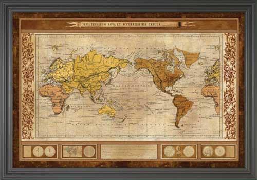 World Map Brown Framed Canvas Art - 24x36 world map