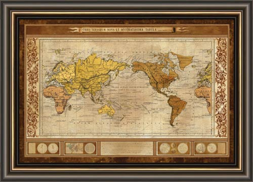 world map brown framed canvas art. Black Bedroom Furniture Sets. Home Design Ideas